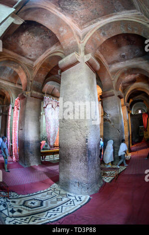 Rock hewn monolithic church of  Bet Medhane Alem (Church of the World Savior) in Lalibela , Ethiopia - Stock Image
