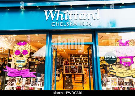 Whittard Chelsea 1886, Whittard of Chelsea, Whittard tea shop, Whittard high street shop, Whittard shop front, Whittard of Chlesea sign, Whittard sign - Stock Image