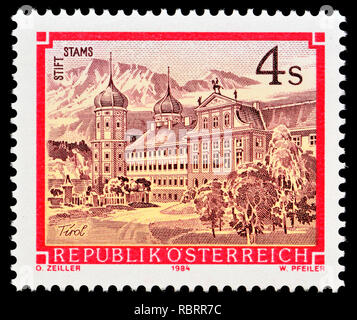 Austrian postage stamp (1984) : Monasteries and Abbeys series: Cistercian abbey, Stams / Stirft Stams - Stock Image