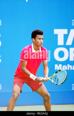 Pune, India. 1st January 2019. Felix Auger-Aliassime of Canada in action in the first round of singles competition at Tata Open Maharashtra ATP Tennis tournament in Pune, India. Credit: Karunesh Johri/Alamy Live News - Stock Image