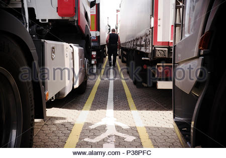 A lorry driver strolls amongst the waiting trucks whilst waiting to board the Dover to Calais ferry service. Dover port, Kent, UK. - Stock Image