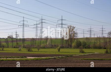 High voltage poles - Electro Smog - Stock Image