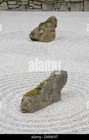 Zen stone garden, Japanese Garden Portland Oregon USA - Stock Image