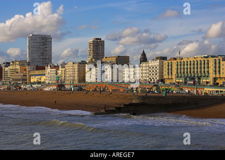 Brighton Seafront from the Pier, Sussex, England UK - Stock Image