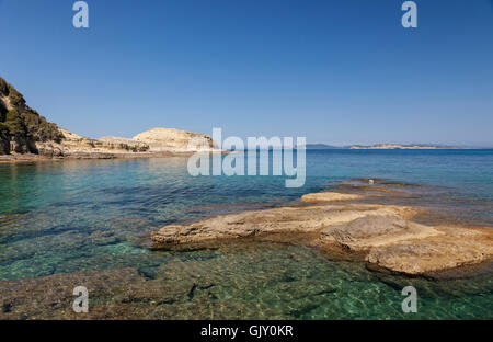 Agios Stefanos coastline, North-west Corfu. Greece - Stock Image