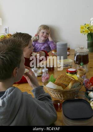 Three caucasian young self-dependant children eating lunch with hands at dining table indoors - Stock Image