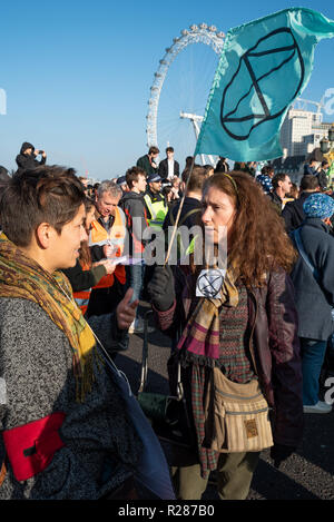 Westminster bridge, London, UK. 17th November 2018. . Extinction Rebellion 'Rebellion Day'. Protestors opposed to what they see as a government of climate criminals aiming to gather together enough protesters to close down parts of London, by shutting down fossil-powered road traffic at key pinch-points in London. Here at Westminster Bridge protestors sat in the road blocking the bridge to traffic. Credit: Stephen Bell/Alamy Live News - Stock Image