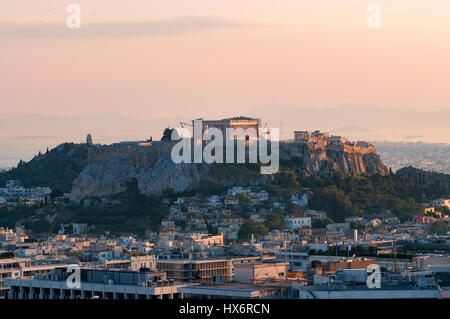 Acropolis view from Lycabettus hill - Stock Image