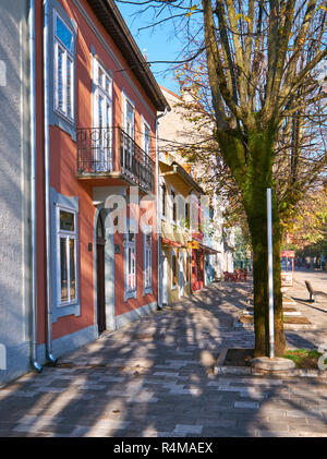 The former German embassy in the former royal capital of Cetinje, built circa 1900s.  Picture at angle to show neighbourhood on a fall sunny morning. - Stock Image