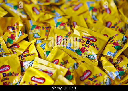 Bassetts Jelly Babies (mini) in a pile - Stock Image