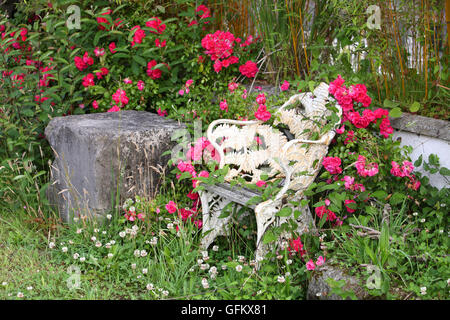 Rustic garden chair with flowers - Stock Image