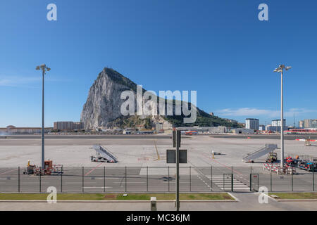 GIBRALTAR, SPAIN: 12-MAY 2017: Rock of Gibraltar  viewed from Gibralta Airport on a sunny day in May 2017. - Stock Image