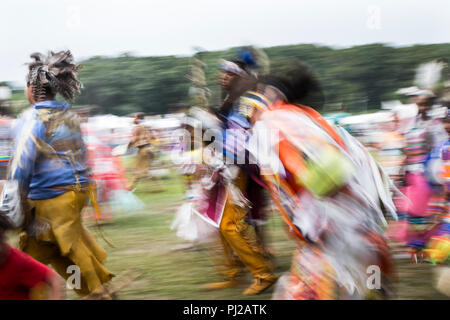 Southhampton, United States of America. 03rd, Sep 2018. Traditional dance during the celebration of the 72nd annual Shinnecock Indian Powwow over the Labour Day weekend in Southampton Long Island New York in Southhampton, United States of America, 03 September 2018. (PHOTO) Alejandro Sala/Alamy News - Stock Image
