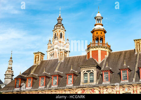Roof tops in the Grande Place in Lille - Stock Image
