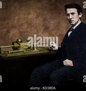 Thomas Edison (1847 - 1931). Photograph of the young  American inventor and businessman  who contributed to the - Stock Image