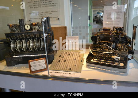 A Lorenz Machine and Teleprinter at the National Museum of Computing, Bletchley Park, Milton Keynes, Buckinghamshire, UK - Stock Image