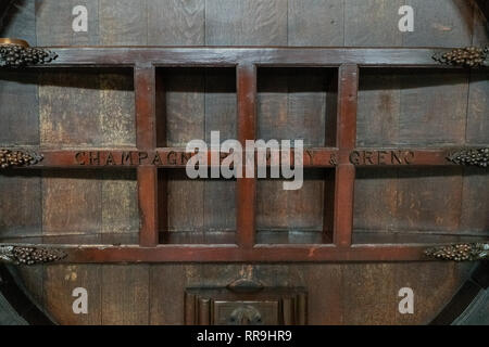 France, Reims, 2017, Ancient Champagne Cask - Stock Image
