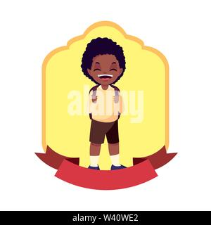 school boy with bag badge design vector illustration - Stock Image