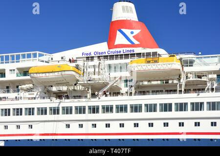Fred Olsen 'Boudicca' cruise ship berthed in Lerwick, Shetland, Northern Isles, Scotland, United Kingdom - Stock Image