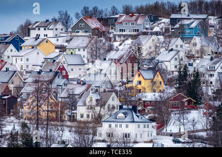 Traditional houses in Narvik, Nordland, Norway - Stock Image