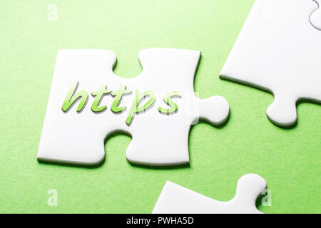 The Word HTTPS In Missing Piece Jigsaw Puzzle - Stock Image