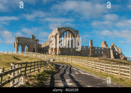 The remains of the Premonstratensian Monastery Egglestone Abbey, Barnard Castle, Teesdale, UK in winter sunshine - Stock Image