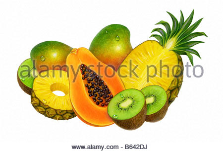 Tropical Fruit Group - Stock Image