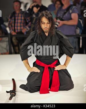 Samurai Sword Perfomance preparation - Stock Image