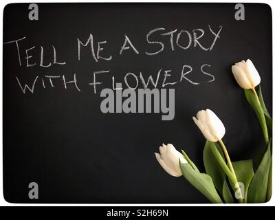 Chalk Board and Tulips - Stock Image