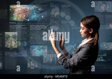 smart phone news application concept, curation media - Stock Image
