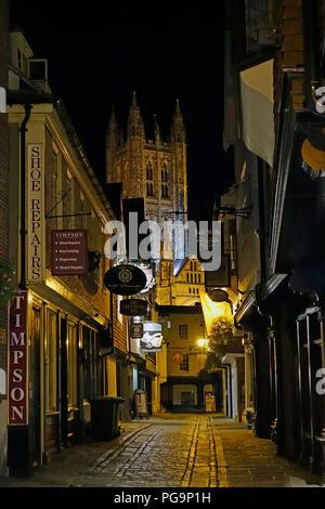 Canterbury Cathedral,Butchery Lane,Canterbury,Kent,England,Night Time - Stock Image