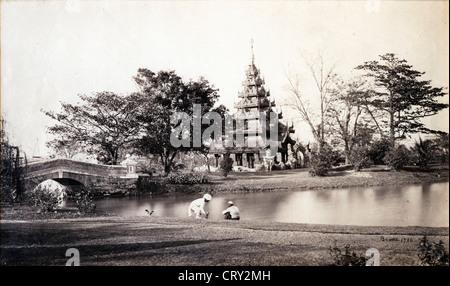 Buddhist Temple, ca 1860, by Samuel Bourne - Stock Image