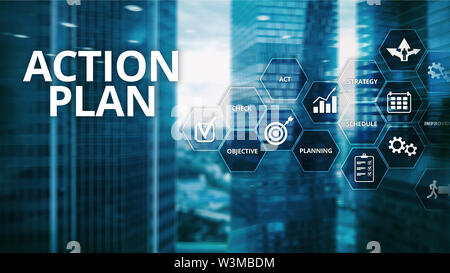 Action Plan Strategy Planning Vision Direction. Financial concept on blurred background - Stock Image
