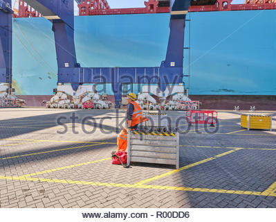 Dock worker by cargo ship at Port of Felixstowe, England - Stock Image