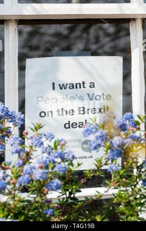 A sign in a house window reads I want a People's Vote on the Brexit Deal. - Stock Image
