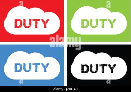 DUTY text, on cloud bubble sign, in color set. - Stock Image