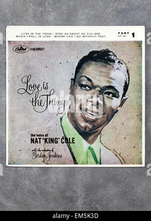 Love is the Thing 7 inch Vinyl record by Nat King Cole - Stock Image