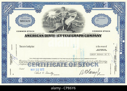 Historic share certificate, American District Telegraph Company, ADT, a company for safety instrumented systems - Stock Image