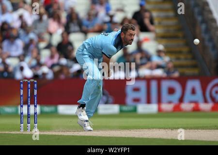 Birmingham, UK. Birmingham, UK. 11th July 2019; Edgbaston, Midlands, England; ICC World Cup Cricket semi-final England versus Australia; Liam Plunkett bowls Credit: Action Plus Sports Images/Alamy Live News - Stock Image