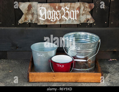 Quirky 'dogs' bar' outside the general store in the small Goldfields town of Blackwood, Victoria, Australia - Stock Image