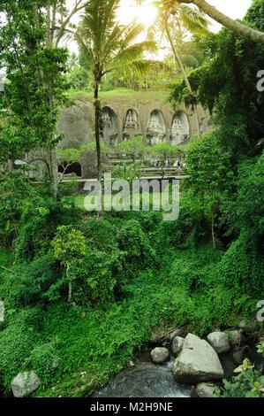 Jungle growth covering river running past Pura Gunung Kawi temple, Bali, Indonesia - Stock Image