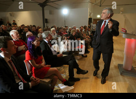 Former prime minister Gordon Brown speaking at a campaign rally for the European Elections at the Lighthouse in Glasgow. - Stock Image