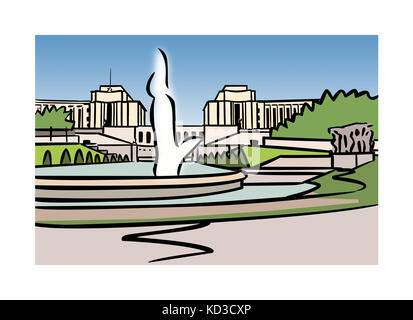 Illustration of Varsovie Fountain, Trocadero, Paris, France - Stock Image