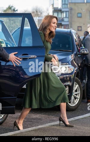 London, UK. 22nd Jan 2019. HRH The Duchess of Cambridge arrives at Family Action Lewisham base to launch their new service 'FamilyLine' uses a network of volunteers from across the country to support parents and carers virtually through telephone calls, email and text messaging. Credit: amanda rose/Alamy Live News - Stock Image