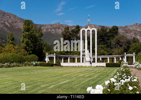 The Huguenot Monument (c. 1945) in Franschhoek, South Africa, is dedicated to the French Huguenots of South Africa. - Stock Image