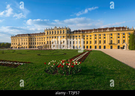 Schonbrunn Palace, view of the parterre garden and baroque exterior of the south side of the Schloss Schönbrunn in Vienna, Austria. - Stock Image
