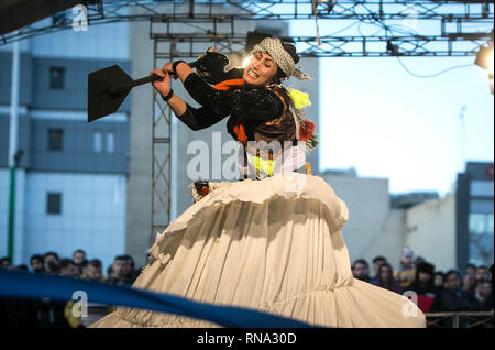 Tehran, Iran. 17th Feb, 2019. An Iranian actress performs during the 37th Fadjr International Theater Festival in Tehran, capital of Iran, on Feb. 17, 2019. Credit: Ahmad HAlabisaz/Xinhua/Alamy Live News - Stock Image