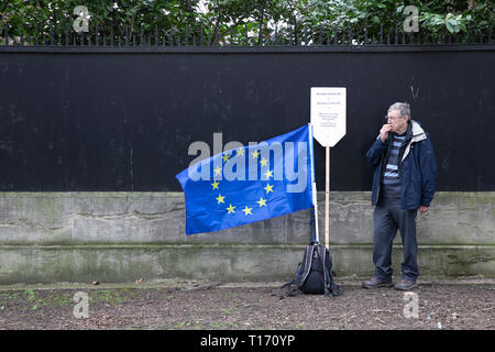 Man standing with EU flag, People's Vote March, London, England - Stock Image