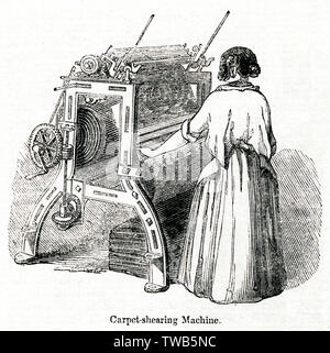 Woman operating a carpet shearing machine in a Glasgow carpet factory.      Date: 1843 - Stock Image