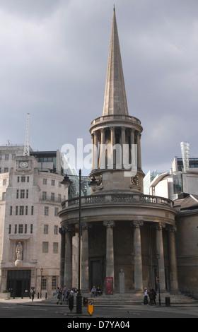 All Souls Church Langham Place London - Stock Image
